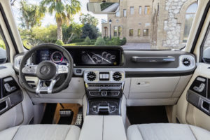 Mercedes-AMG G 63. Exterieur: designo mysticweiß bright, Exterieur-Edelstahl-Paket. Interieur: designo Leder macchiatobeige;Kraftstoffverbrauch kombiniert: 13,1 l/100km; CO2-Emissionen kombiniert: 299 g/km*  Mercedes-AMG G 63. Exterior: designo mysticwhite bright, Exterior-Stainless steel-Packet. Interior: designo leather macchiato beige;Fuel consumption combined: 13,1 l/100km; CO2-emissions combined: 299 g/km*