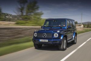Mercedes-Benz G 500 brillantblau metallic, designo Leder Nappa espressobraun/schwarz.;Kraftstoffverbrauch kombiniert: 11,5 l/100 km; CO2-Emissionen kombiniert: 263 g/km*  Mercedes-Benz G 500, brilliant blue metallic, designo nappa leather espresso brown/black.;Fuel consumption combined: 11.5 l/100 km; Combined CO2 emissions: 263 g/km*