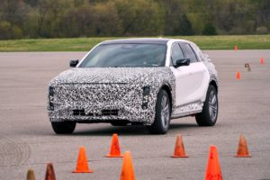 Testing of the 2023 Cadillac LYRIQ at Milford Proving Ground in Milford, Michigan is running ahead of schedule, with initial vehicle availability starting the first half of 2022. At launch, LYRIQ will be available with premier technologies and stirring performance capabilities enabled by the vehicle's dedicated electric architecture. A 12-module, 100 kilowatt-hour battery pack and a rear-wheel-drive Ultium Platform will deliver a Cadillac-estimated 340 horsepower and 440 Nm of torque — and a Cadillac-estimated over 300 miles of range with a full charge. (Photo by John F. Martin for General Motors)