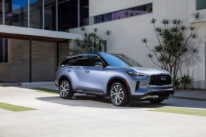The all-new 2022 INFINITI QX60, combining powerful athleticism with harmony and simplicity. AUTOGRAPH grade shown in Moonbow Blue. Not yet available for purchase. Expected availability, late 2021. Pre-production model shown. Actual production model may vary.